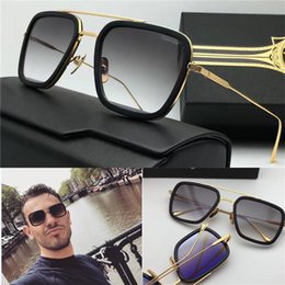 Wholesale Sunglasses - new designer sunglasses flight 006 square frame coating mirror lens gold plated men brand designer UV400 lens retro style top quality