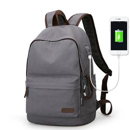 Wholesale Teenager Canvas Backpack - 2018 New Canvas Backpack Hot College Students School Backpack USB Charging Design Bags for Teenager Travel Backpack