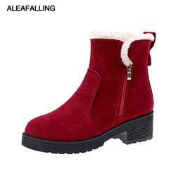 Niedliche stiefeletten online-Aleafalling Damen Stiefel Ankle Zip Offene Plattform Nette Einfache Smart Schuhe Mädchen Leder Warme Plüsch Winter Herbst Stiefel WBT344