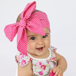 Wholesale Hair Printed Ribbons - Baby Printing Flower Cotton Headbands Kids Hair Ribbon Bowknot Headbands Bows Girls Toddler Turban Hairbands Children Hair Accessories