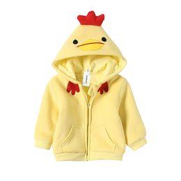Niñas cardigans de primavera online-Linda grueso caliente de la capa de los niños del bebé muchachas del muchacho Cardigan Abrigos cremallera sudaderas con capucha de la chaqueta pequeña caricatura de pollo de resorte ropa larga de la manga