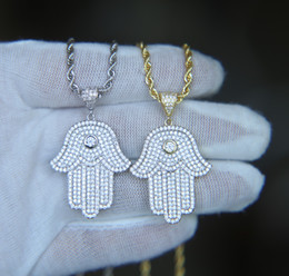 2021 ouro hamsa hip hop bling jewelry iced out cool boy mens necklace hamsa hand pendant gold silver plated cz cubic zirconia bling hiphop necklace for men desconto ouro hamsa