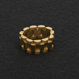 18к золотые кольца Скидка Beichong хип-хоп мужчины из нержавеющей стали цепи кольцо панк стиль золото серебро три строки смотреть ремень золотые кольца ювелирные изделия партии