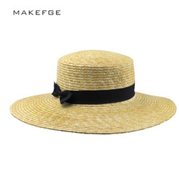 cb8ae3ec28c Women Summer Beach Sun hats 2017 Brand New Flat Top Straw Hat Boater Hats  Bone feminino Straw Women Wide Brim Flat Top