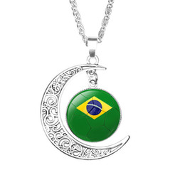 mens stone pendant necklace Promo Codes - Discount Mexico Soccer necklace Souvenirs,2018 Russia World Cup fan jewelry,mens national flag football time precious stone crescent pendant