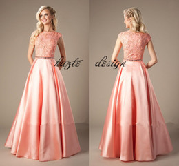 Wholesale Little Girl Sexy Fashion - Coral Satin Lace Long Modest LDS Prom Dresses 2018 Cap Sleeves A-line Beaded Elegant Beaded Girls Formal Mint Evening Prom Party Dresses