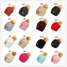 4 stili Donna Bambini Moda Cappello lavorato a maglia Autunno Inverno Cappello caldo CC Skullies Marca Palla per capelli pesanti Colore solido da