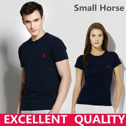 Wholesale Small Fit - Hot sell Men's T Shirt Brand Small Horse Embroidery Short Sleeve 100%Cotton T Shirt Mens Clothing Trend Casual Slim Fit Hip-Hop Top Tees