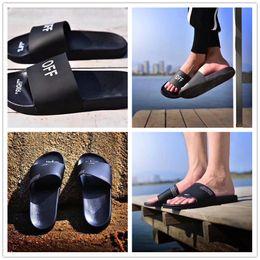 Wholesale Moccasin Slippers For Men - 2018 High quality OFF CORPORATE SLIDER Slippers Designer Shoes Youthful Vtality for Women Men Black Slides Sandals Fashion Slipper EUR 36-44