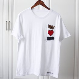 Wholesale high fashion women s clothing - 18ss Luxury Europe Italy Prince Crown Heart T-shirt High Quality Summer Fashion Men Women Embroidery T Shirt Casual Cotton Clothes Tee Top