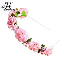 Wholesale Korean Flower Girl Accessories - haimeikang Korean DIY Bouquet Hair Ring Headband PE Flower Small Rose Flower Crown Headband Girls Women Bride Hair Accessories