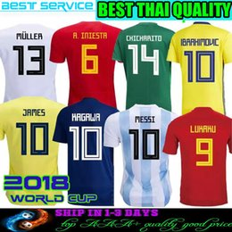 Wholesale Russia Football - 2018 World Cup Soccer Jersey Home Shirt Argentina Spain Colombia Brazil Belgium Russia Japan Mexico Sweden #13 Müller Football Uniforms XXL