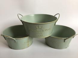 Wholesale Green Tin Buckets - D14*H6.5CM(D5.5XH2.6inch) Vintage Nostalgia Tin Planter Galvanized Buckets Succulents Pot Romancique de Paris Since 1898 SF-122G