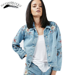 Wholesale Floral Jean Jacket - 2017 Casual Women Denim Jacket Autumn Jean Casaco Feminino Female Jackets Embroidery Harakuju Vintage Coat Jackets Women Coats