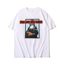Wholesale Hot Lisa - Hot Sale Mens Clothes 2018 New Fashion Letters T-shirt Mona Lisa Printed Casual T-shirts Black White Loose Tees Brand Men Tee Tops MT050