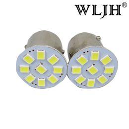 Wholesale Vehicle Brakes - WLJH White S25 1156 LED BA15S 7506 7527 P21W Auto Truck RV Vehicle Car LED Reverse Lamp Signal Tail Brake Lights Bulb