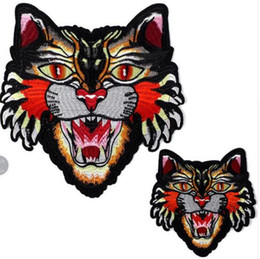 Wholesale Tiger Embroidery Fabric - Embroidery 21cm tiger head iron on patch for clothes deal with it flower patches for clothing animal diy fabric free shipping