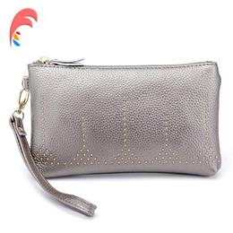 Wholesale silver wristlet purse - Wristlet Genuine Leather Women Day Clutch Silver Black Red Phone Coin Wallet Purse Female Designer Evening Wedding Clutches Bag