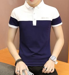 49266815aaa9 2018 Newest Men Fashionable And Comfortable Dark Blue And White Contrast Color  Summer Lapel Polo T-Shirt With 100% Cotton Material