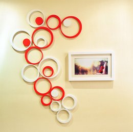 Wholesale wall wood 3d decor - Fashion 3D Stereo Wall Sticker Removable Wooden Round Rings Paster For Home Living Room TV Background Decor Stickers Hot Sale 3 6yj B