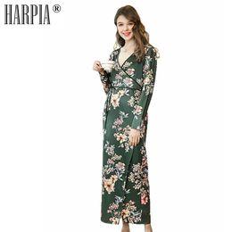 16c7b2d107 New Sleepwear Women s Robes Vintage Bridesmaid Robe Femme Slik Pajamas  Satin Pyjamas Women Sexy V-neck Loose Plus Size Nightwear