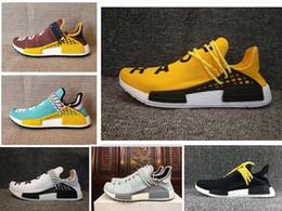 zapatos de puesta a tierra Rebajas NUEVO Body earth trail Zapatillas de running Hombre Mujer Pharrell Williams HU Runner Yellow Nerd core Negro Blanco Rojo zapatillas de deporte