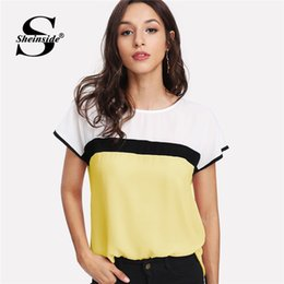 Wholesale Color Block Blouses - Sheinside Color Block Tunic Blouse Women Round Neck Short Sleeve Summer Top 2018 New Multicolor Ladies Casual Regular Fit Blouse