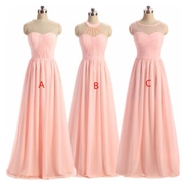 Wholesale Gold Occasion Dresses - Women' BRIDESMAID DRESS 2018 Light Pink A-Line Lace Illusion Neckline Sleeveless Long Maid Honor Special Occasion Dresses For Wedding