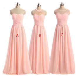 Wholesale Sleeveless Jewel Neckline Wedding Dresses - Women' BRIDESMAID DRESS 2018 Light Pink A-Line Lace Illusion Neckline Sleeveless Long Maid Honor Special Occasion Dresses For Wedding