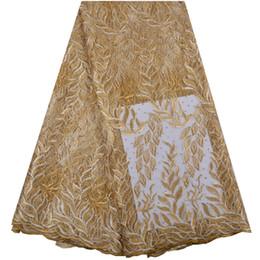 Tessuto Africano Del Merletto 2019 Pizzo Nigeriano Ricamato Tessuto Nuziale Alta Qualità Oro Francese Tulle Tessuto di Pizzo Per Le Donne A1345 da