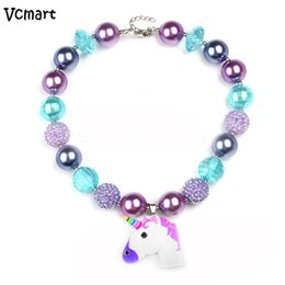 Wholesale Chunky Necklaces For Babies - whole saleVcmart Unicorn Chunky Bubblegum Necklace Lovely Baby Kids Girls Beaded Necklace for Toddler Infant