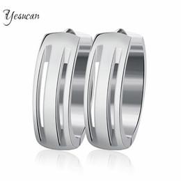 Wholesale Earing Steel - Yesucan New Trendy Men's Silver Hoop Earrings Good Quality 316L Stainless Steel Simple Rock Cool Men Earing