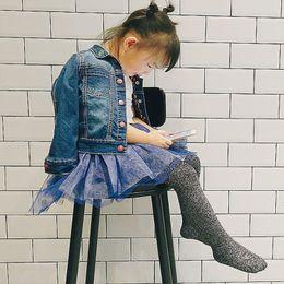 2018 Nueva primavera de oro y plata Sedas Medias Mooth Tejer princesa Legging 1-7Years Primavera Niños Pantis desde fabricantes