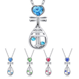 Wholesale Chinese Jewelry Wholesalers - 2018 Chinese Musical Instrument Crystal Heart Pipa Necklace Silver Chain Crystal Diamond Pendant Fashion Jewelry Gift for Women Kids 162334