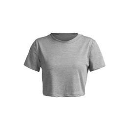 Camisetas sólidas de moda de las mujeres online-Trendy Women sólido sexy jersey Tops manga corta casual camisetas delgadas Sólido cuello redondo Crop