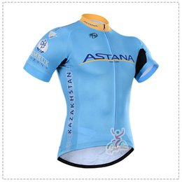 Wholesale Astana Cycling Team - 2018 ASTANA team Cycling Short Sleeves jersey Simple Style Bikes comfort quick dry men tops jerseys c1314