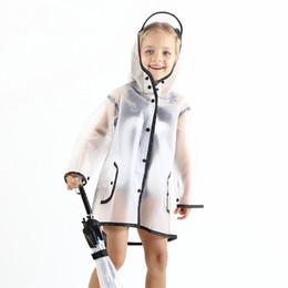 Cappotti da ragazza online-Impermeabile di plastica trasparente per bambini Impermeabile Poncho Studente bambino bambini impermeabili per le ragazze di viaggio all'aperto per ragazzi