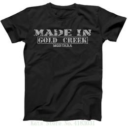 2019 montana ouro Estilo Retro Vintage Feito Em Montana, Gold Creek Hometown Camisa Imprimir Tee Homens Roupas de Manga Curta montana ouro barato