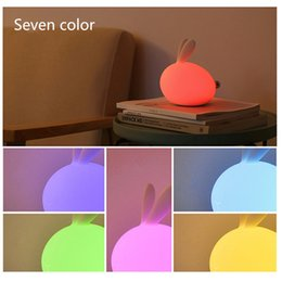 Wholesale Desk Novelty Gifts - Novelty Rabbit silicon led night light shake clap atmosphere desk lamp USB charge color changing gift Night Lamp for Christmas