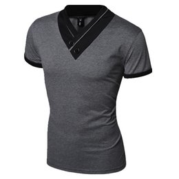 Wholesale Korean Xxl Clothes - 2016 Korean Casual Men t-shirt 2016 hot fashion solid t shirt men t shirt clothes M-XXL T088