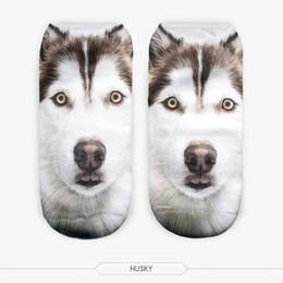 Wholesale Cute Huskies - Wholesale- New 3D Printed Animal Unisex Cute Low Cut Ankle Socks Multiple Colors Harajuku Style husky