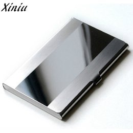 Wholesale Aluminium Card Case Wallet - Card Holder Stainless Steel Silver Aluminium Credit Card Case Women Wallets Nueva Vogue Men ID Box Cartao De Visita #7217