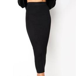 0a2026bf7e89c 2018 Autumn Knitted Bodycon Long Skirt Sexy Black White High Waist Tight  Women Maxi Elegant Party Club Wear Pencil Skirts