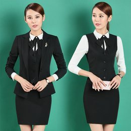 Wholesale Jacket Style Blouses - Formal OL Styles Professional Business Women Work Suits With 4 Pieces Jackets +Vest +Skirt + Blouse Beauty Salon Blazers S-4XL
