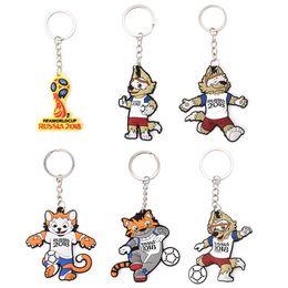 Wholesale Wolf Cup - Russia World Cup Mascot Keychain Football Souvenir Zabivaka Soccer Zabivaka Wolf Figure Key Ring cartoon FFA245 6styles 600pcs