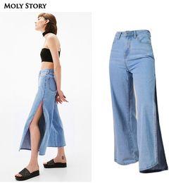 2019 jeggings denim atacado 2018 Nova Moda Side Slit Perna Larga Jeans Mulheres Senhoras Soltas Cintura Alta Jeans Plus Size Calças Jeans OL lady Casual