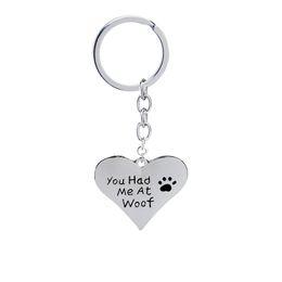 Amantes llaveros personalizados online-me tenias en woof pet lover cat dag pata Print Heart colgante collares llaveros corazon Joyas llaveros para mujeres