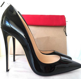 Wholesale Teal High Heel Pumps - 2018 New luxury designer 8cm 10cm 12cm red bottom high heels genuine leather pointed toes women christians pumps red soel dress shoes