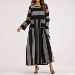 e8db908486 women long robes Canada - Women Long Sleeve Cotton Linen Striped Loose  Pocket Long Bohe Dress