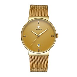 Wholesale Thin Gold Ladies Watch - ultra thin water diamond lovers watch waterproof steel band ladies watch small dial fashion student gold watch.